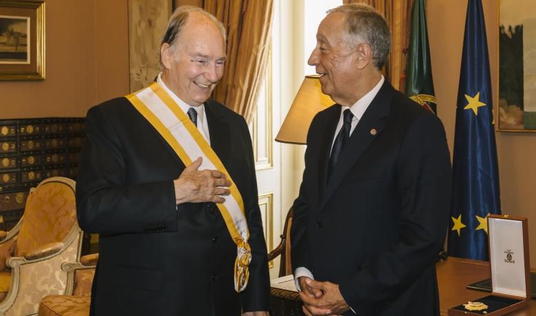 President Marcelo Rebelo de Sousa of Portugal presented the Aga Khan with the Gra-cruz da ordem de Liberdade in recognition of his service to uplifting lives around the world.