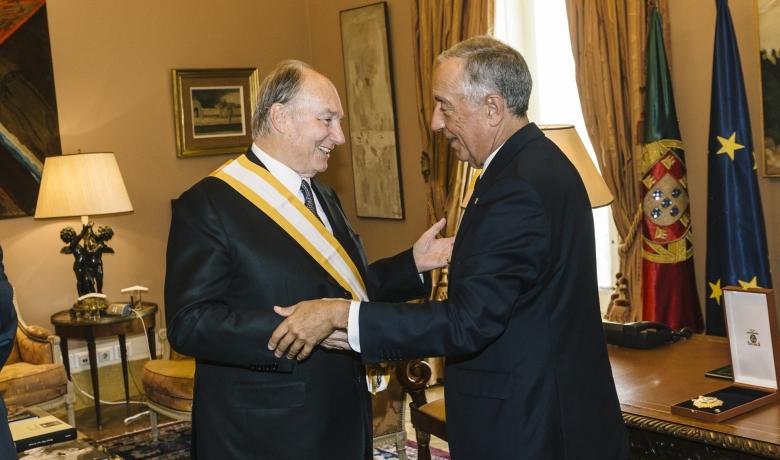 His Highness the Aga Khan receives the Gra-cruz da ordem de Liberdade, or Grand Cross of the Order of Liberty from Portugal's President Marcelo Rebelo de Sousa