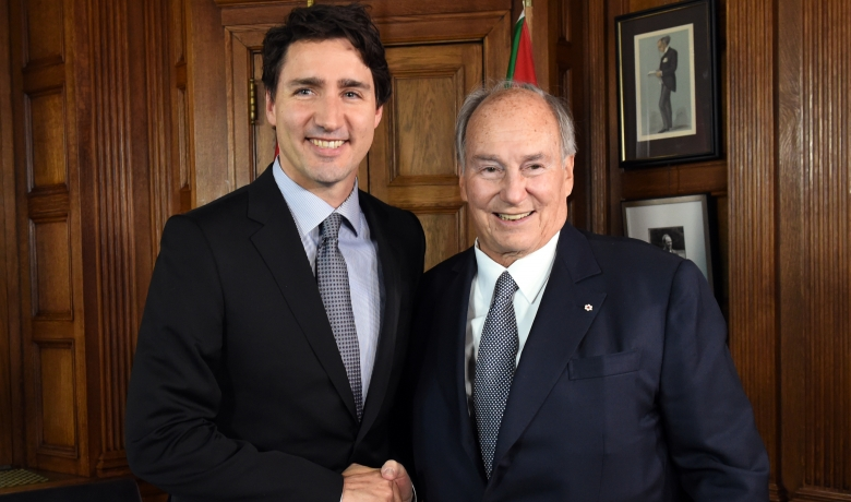 His Highness the Aga Khan meeting Prime Minister Trudeau